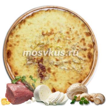 С мясом, сыром и грибами