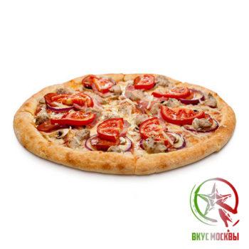 """Пицца """"Мехико""""<br/><text style=""""font-size:15px; """"> пицца-соус, кусочки поджаренного филе, шампиньоны, лук, зеленый перец, моцарелла, помидоры, острый перчик</text>"""