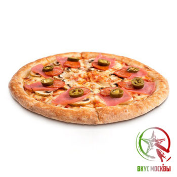 "Пицца ""Острая""<br/><text style=""font-size:15px; ""> пицца-соус, ветчина, пепперони, шампиньоны, острый перчик, сыр парамезан, моцарелла</text>"