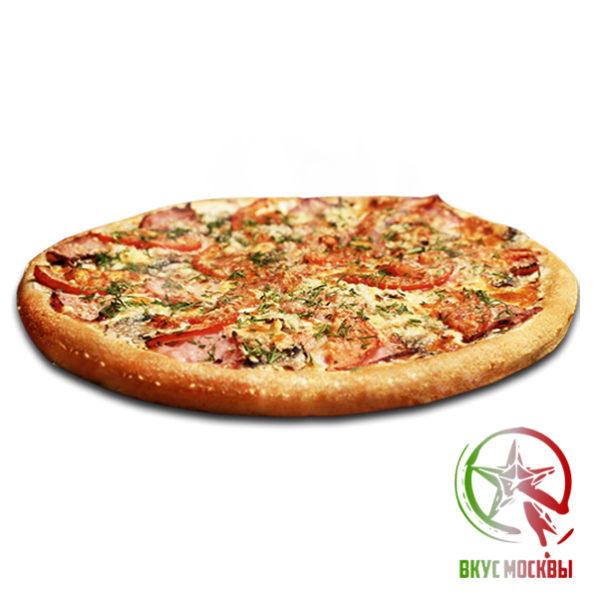 """Пицца """"Домашняя""""<br/><text style=""""font-size:15px; """"> пицца-соус, ветчина, помидоры, шампиньоны, сыр парамезан, моцарелла, зелень</text>"""