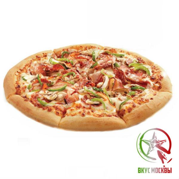 "Пицца ""Америго""<br/><text style=""font-size:15px; ""> пицца-соус, пепперони, бекон, шампиньоны, моцарелла</text>"