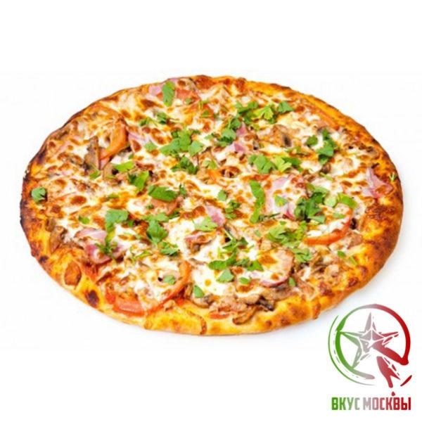 """Пицца """"Бьянка""""<br/><text style=""""font-size:15px; """"> пицца соус, говядина, шампиньоны, зеленый перец, лук, маслины, ветчины, пепперони, моцарелла</text>"""