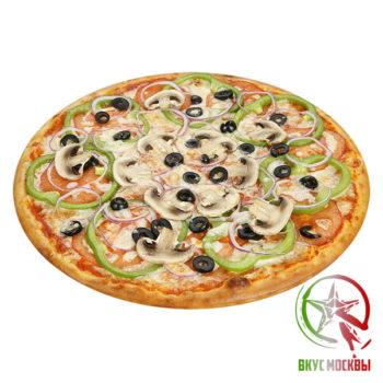 "Пицца ""Вегетарианская""<br/><text style=""font-size:15px; ""> пицца-соус, шампиньоны, лук, зеленый перец, маслины, помидоры, моцарелла</text>"