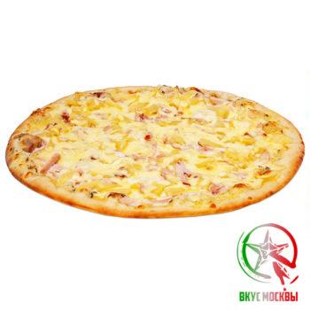 "Пицца ""Чикен Айланд""<br/><text style=""font-size:15px; ""> пицца-соус, ветчина, кусочки поджаренного филе, ананас, моцарелла</text>"